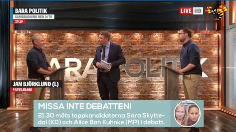 Bild från debatten. Expressen tv
