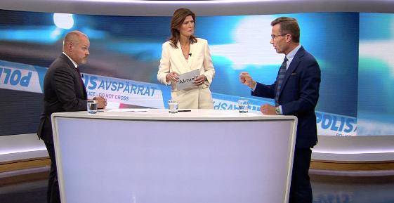 Morgan Johansson, SVT:s programledare och Ulf Kristersson. SVT