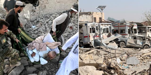 Skadade bärs bort från rasmassorna i Afghanistan. TT
