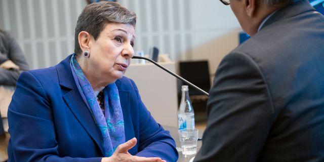 Hanan Ashrawi, talesperson för palestinska paraplyorganisationen PLO välkomnar Omans besked.  Henrik Montgomery/TT / TT NYHETSBYRÅN