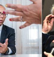 Nordeas nya vd Frank Vang-Jensen till vänster. Avgående ordföranden Björn Wahlroos till höger.  TT
