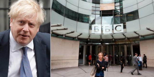 Boris Johnson/BBC:s huvudkontor.  TT