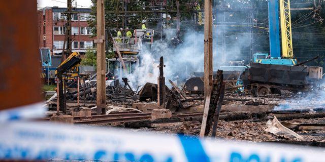 Brandplatsen nära spåret i Hässleholm. Johan Nilsson/TT / TT NYHETSBYRÅN