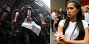 Militärer och andra väljare lägger sin röst i förtidsvalet. TT