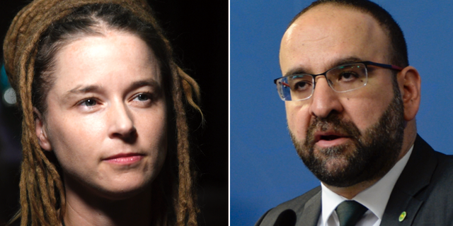 TT Kulturminister Amanda Lind (MP) och tidigare bostadsminister Mehmet Kaplan (MP)