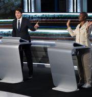 Erin O'Toole, Justin Trudeau och Annamie Paul i tv-debatt inför valet/Arkivbild från 8 september Sean Kilpatrick / TT NYHETSBYRÅN