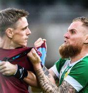Malmö FFs Sören Rieks och Hammarbys David Fällman.  MAXIM THORE / BILDBYRÅN