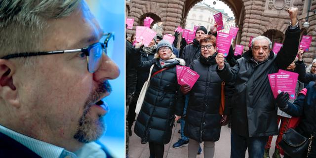 Mikael Sjöberg/fackförbundet ST demonstrerar mot att den nya budgeten inte innehåller mer pengar till Arbetsförmedlingen. TT