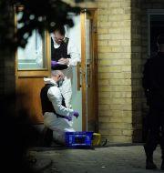 Polis och kriminaltekniker på plats efter att en man hittades död i ett trapphus i Svalöv. Johan Nilsson/TT / TT NYHETSBYRÅN