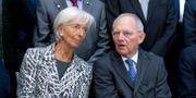 Christine Lagarde och Tysklands finansminister Wofgang Schäuble. Jose Luis Magana / TT NYHETSBYRÅN