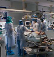 Portugisiska läkare och sjuksköterskor som behandlar en patiens som insjuknat i covid-19.  Armando Franca / TT NYHETSBYRÅN