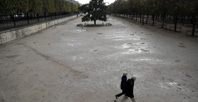 Två personer passerar ett folktomt Tuileries trädgårdar.  Lewis Joly / TT NYHETSBYRÅN