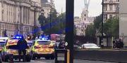 Skärmdump från videoklipp där bilen syns till höger. EWALINA OCHAB / AFP