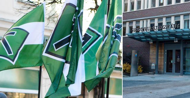 Nazistiska NMR:s flaggor/Sundsvalls tingsrätt. TT