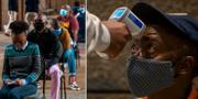 Människor köar för att testa sig för covid-19 i Johannesburg, Sydafrika. TT
