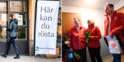 Kvinna går in för att rösta i vallokal i Falun / Statsminister Stefan Löfven och hustrun Ulla knackar dörr inför omvalet.  TT