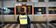 Polis vid gränskontrollen vid Hyllie tågstation, 2017. Johan Nilsson/TT / TT NYHETSBYRÅN