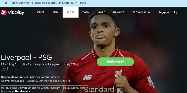 Skärmdump från Viaplays hemsida.