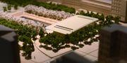 En modell över Apples nya flagship store som man hoppas kunna bygga i Kungsträdgården i Stockholm. Henrik Montgomery/TT / TT NYHETSBYRÅN