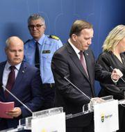 Morgan Johansson, rikspolischef Anders Tornberg, Stefan Löfven och Lena Hallengren. Arkivbild. Henrik Montgomery/TT / TT NYHETSBYRÅN