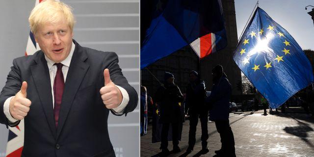 Boris Johnson gör tummen upp.  AP/TT