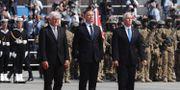 Mike Pence, Andrzej Duda och Frank-Walter Steinmeier vid ceremonin. Petr David Josek / TT NYHETSBYRÅN