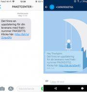 Ett urval av exempel på hur falska SMS som ser ut att komma från Postnord kan se ut. De är i själva verket bedrägeriförsök, och kommer inte från Postnord.  Postnord