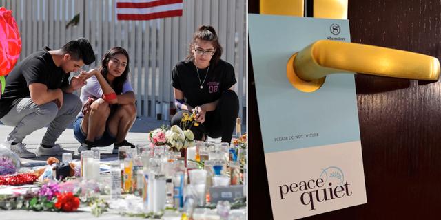 Vänster: Blommor och sörjande efter masskjutningen i Las Vegas. Höger: Arkivbild på hotelldörr med stör ej-skylt. TT