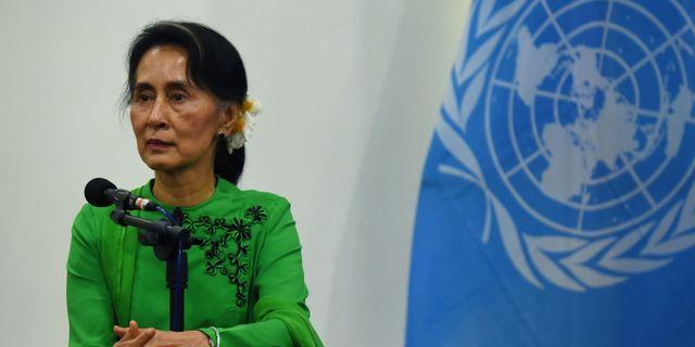 Aung San Suu Kyi under i samband med ett möte med FN:S generalsekreterare. Arkivbild. ROMEO GACAD / AFP