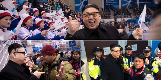 Kim Jong-Un-imitatören poserar, konfronteras och blir utkörd. TT