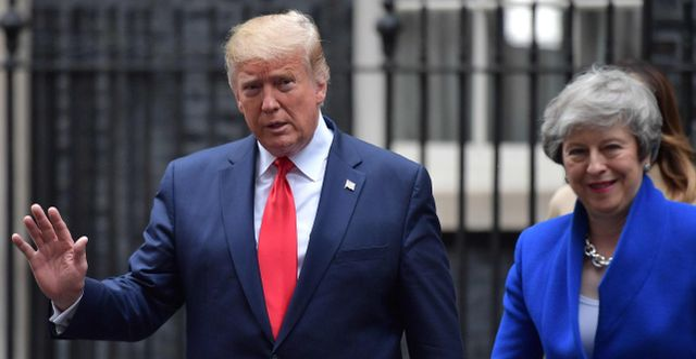 Donald Trump och Theresa May. DANIEL LEAL-OLIVAS / AFP