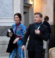 Prinsessan Sofias vänner Johan Andersson och Stina Andersson vid prins Gabriels dop i Drottningholms slottskyrka. Anders Wiklund/TT / TT NYHETSBYRÅN