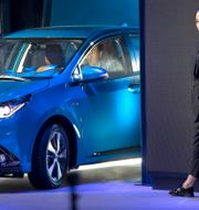 Arkivbild: Plug in-hybriden Toyota Levin presenteras vid bilmässan i Peking våren 2018. Mark Schiefelbein / TT NYHETSBYRÅN