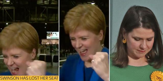 SNP:s partiledare Nicola Sturgeons segervrål. Sky News / TT