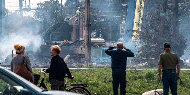 Arbetet pågår för fullt med att laga allt som förstördes i och med branden i onsdags. Johan Nilsson/TT / TT NYHETSBYRÅN