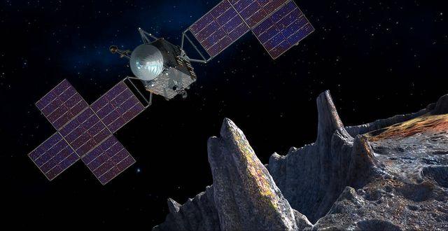 Nasas bild som illustrerar hur farkosten arbetar framme vid asteroiden 16 Psyche. NASA/JPL-Caltech/Arizona State Univ./Space Systems Loral/Peter Rubin