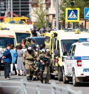Stort pådrag efter skolskjutningen i Kazan.  Roman Kruchinin / TT NYHETSBYRÅN