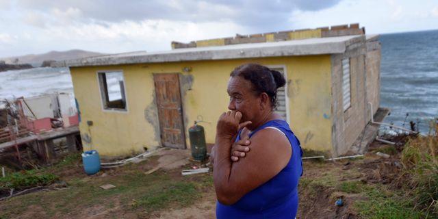 Maria Martinez hus raserades när orkanen Maria drog fram. HECTOR RETAMAL / AFP