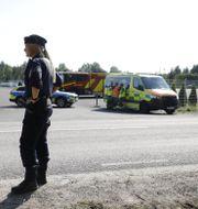 En stor insats pågick vid Hällbyfängelset på onsdagen.  Christine Olsson/TT / TT NYHETSBYRÅN