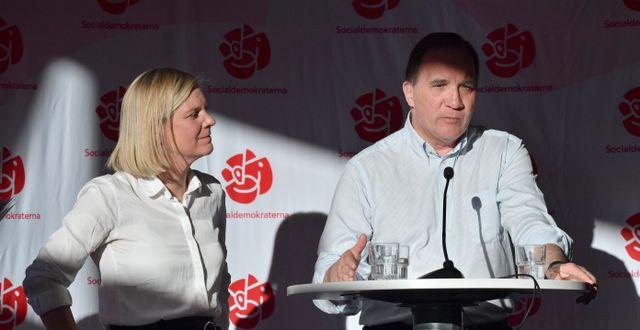 Finansminister Magdalena Andersson och statsminister Stefan Löfven.  Johan Nilsson/TT / TT NYHETSBYRÅN