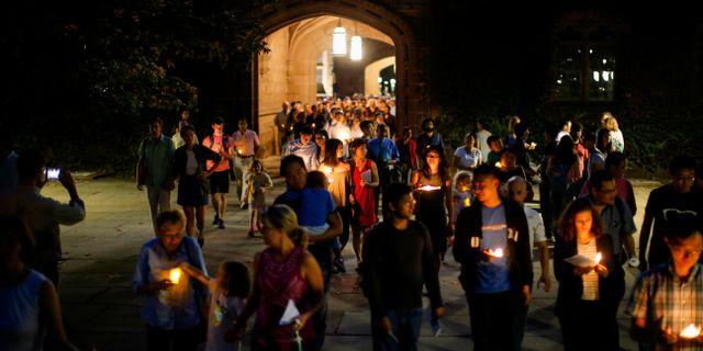 Manifestation för Xiyue Wang på Princeton-universitetet i USA. September 2017.  Eduardo Munoz / TT NYHETSBYRÅN