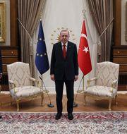 EU-rådets ordförande Charles Michel, Turkiets president Recep Tayyip Erdogan och EU-kommissionens ordförande Ursula von der Leyen.  Sputnik via AFP / TT NYHETSBYRÅN