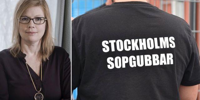 Stockholms hälso- och sjukvårdslandstingsråd Anna Starbrink (L) och en av de strejkande sophämtarna. TT