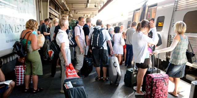 Resenärer på Stockholms centralstation.  Bertil Ericson / TT / TT NYHETSBYRÅN