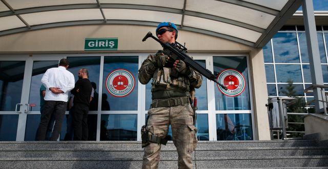 Bild från en tidigare rättegång mot personer misstänka för inblandning i kuppförsöket. Lefteris Pitarakis / TT NYHETSBYRÅN