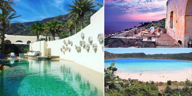 På Pantelleria kan man njuta av en utomhusmassage under palmerna, slappa vid poolen eller bara beundra havsutsikten. Sikelia Hotel / Instagram / Youtube