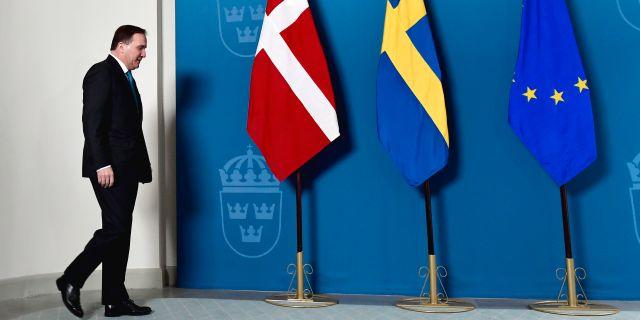 Stefan Löfven när han tog emot Danmarks statsminister i Rosenbad i Stockholm. Stina Stjernkvist/TT / TT NYHETSBYRÅN