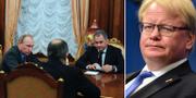 Ryske försvarsministern Sergej Sjojgu i ett möte med Vladimir Putin till vänster. Peter Hultqvist till höger.  TT