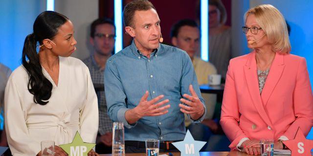Alice Bah Kuhnke (MP) Tomas Tobé (M) och Helene Fritzon (S). Anders Wiklund/TT / TT NYHETSBYRÅN