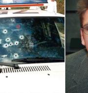 Den beskjutna polisbilen i Malexander 1999 och Tony Byström, tidigare Olsson.  TT